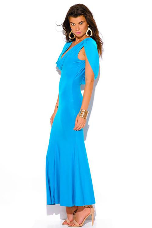 Down to the Wire Turquoise Cowl Neck Maxi Dress - The Laguna Room