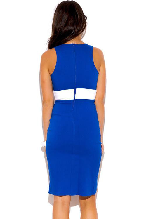Into Twilight Fitted Blue Pencil Dress - The Laguna Room