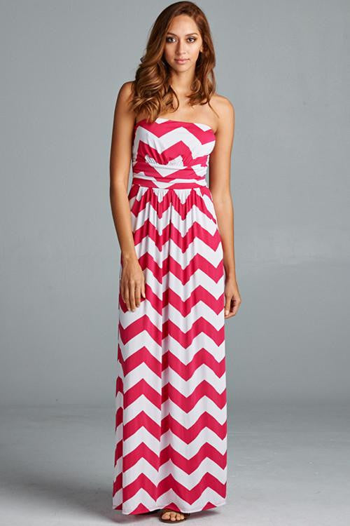 Keep Them Coming Strapless Chevron Maxi Dress - The Laguna Room
