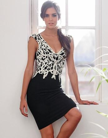 Lipsy Applique Contrasting Black Lace Dress - The Laguna Room