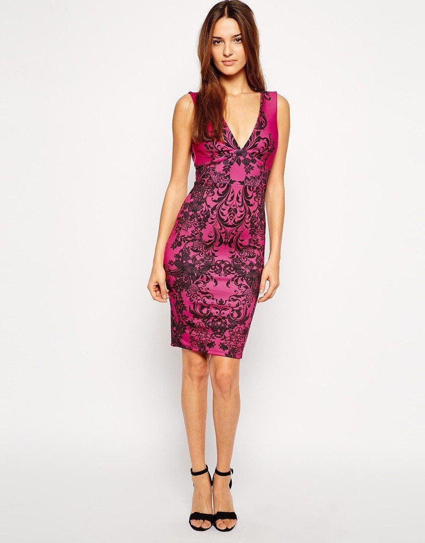 Lipsy Baroque Print Pink Dress - The Laguna Room