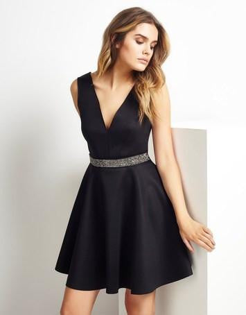 Lipsy Embellished Waistband Black Skater Dress - The Laguna Room