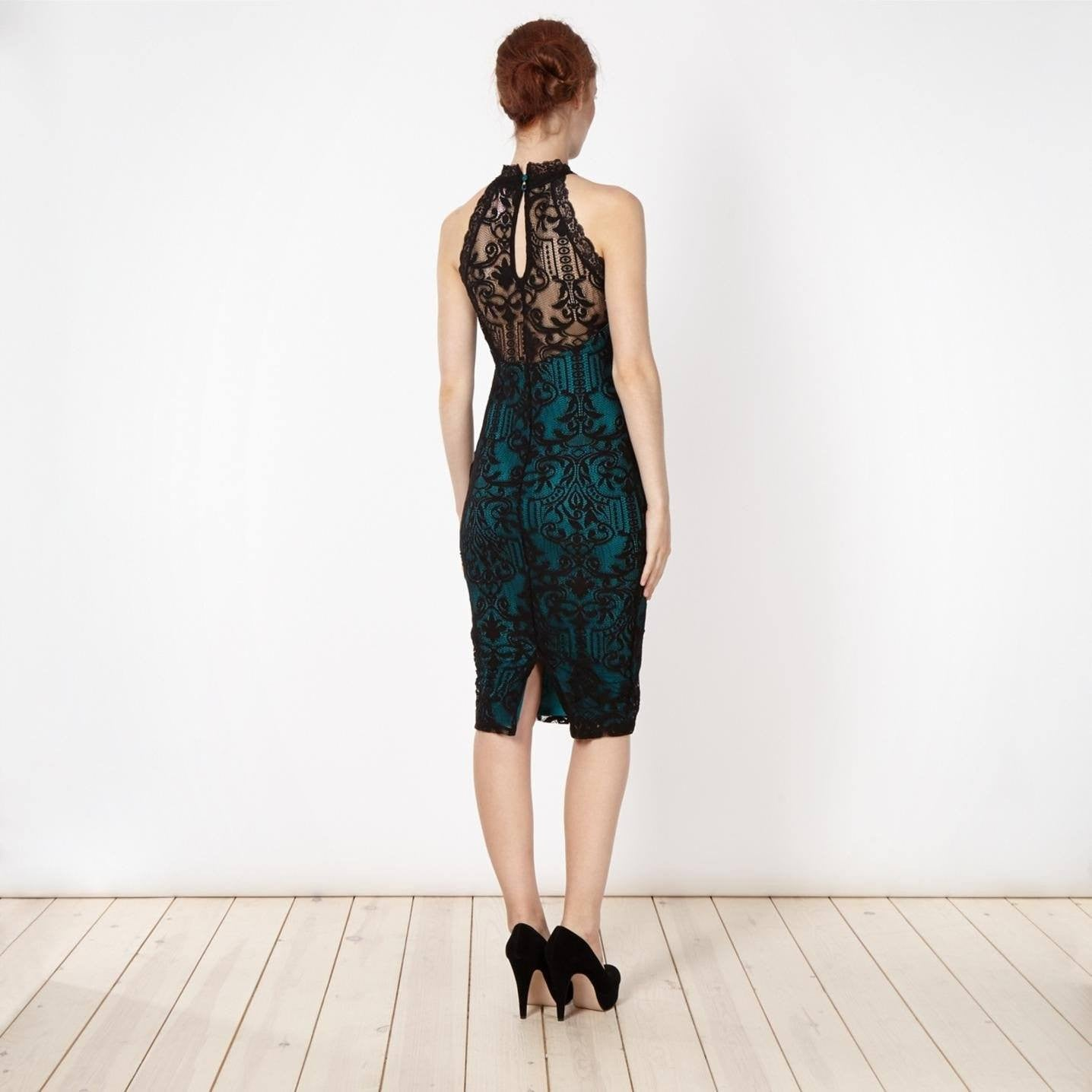 Lipsy High Neck Baroque Green Lace Dress - The Laguna Room