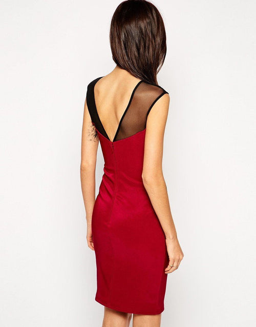 Lipsy Lace Appliqué Red Mesh Dress - The Laguna Room