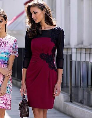 Lipsy Lace Applique Red Shift Dress - The Laguna Room