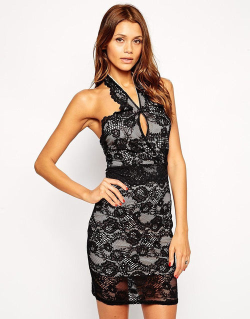 Lipsy Lace Black Bodycon Dress - The Laguna Room