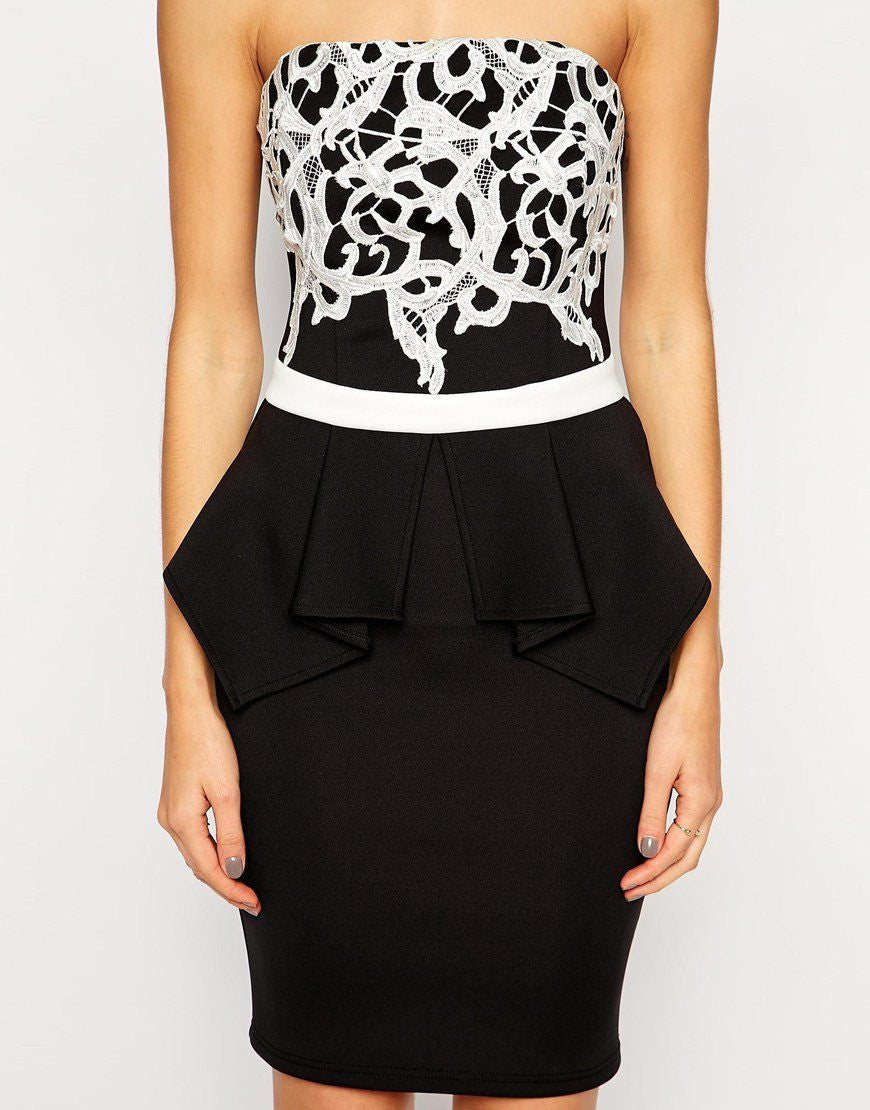 Lipsy Peplum Black Bandeau Dress - The Laguna Room
