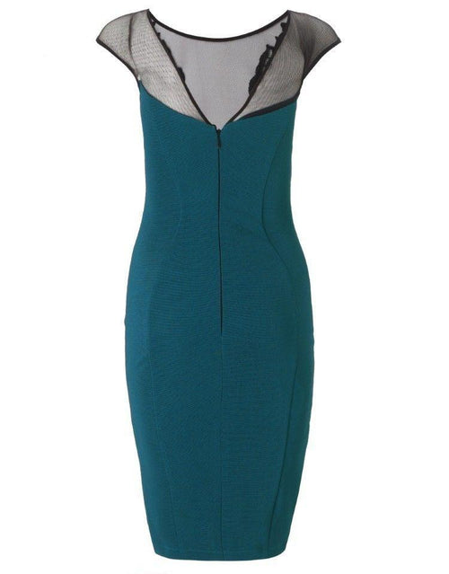 Lipsy Teal Lace Teal Applique Dress - The Laguna Room