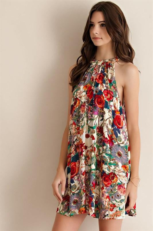 Take It To The Limit Floral Mock Neck Dress - The Laguna Room