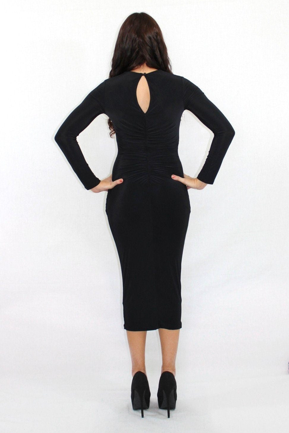 The Biggest Boss Keyhole Black Bodycon Dress - The Laguna Room
