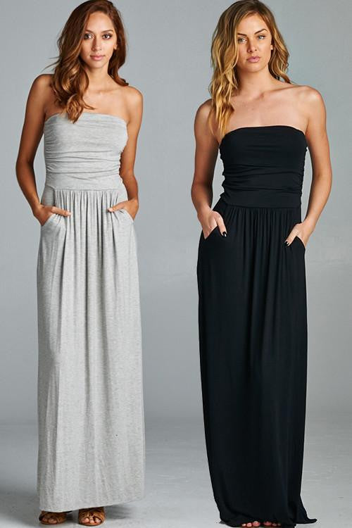 The Homecoming Strapless Knit Maxi Dress - The Laguna Room