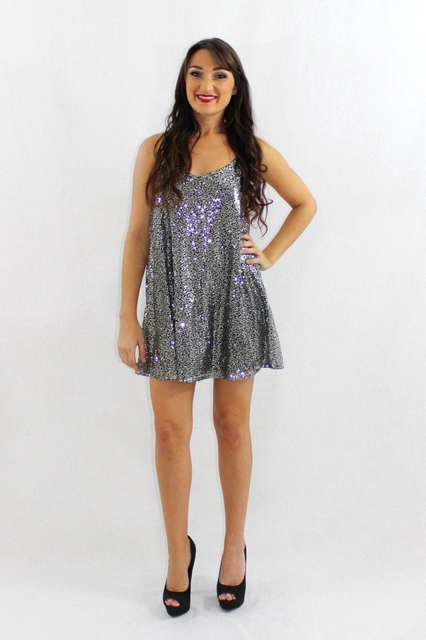 The Rumble Silver Sequin Dress - The Laguna Room