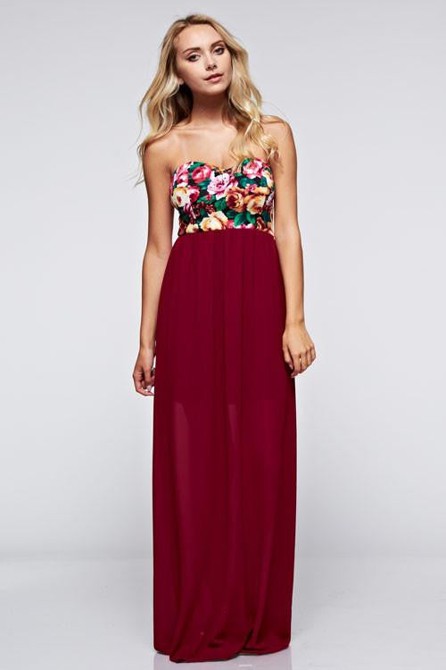Live For Love Strapless Floral Maxi Dress - The Laguna Room