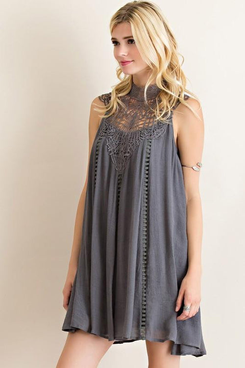 Right Above Lace Mock Dress - The Laguna Room