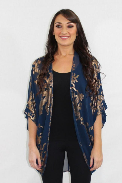 Be So Real Blue and Gold Sheer Cardigan - The Laguna Room