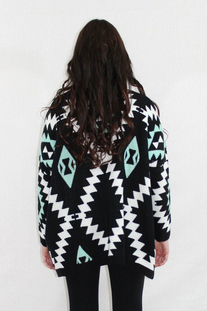 Little Too Late Aztec Oversized Cardigan - The Laguna Room