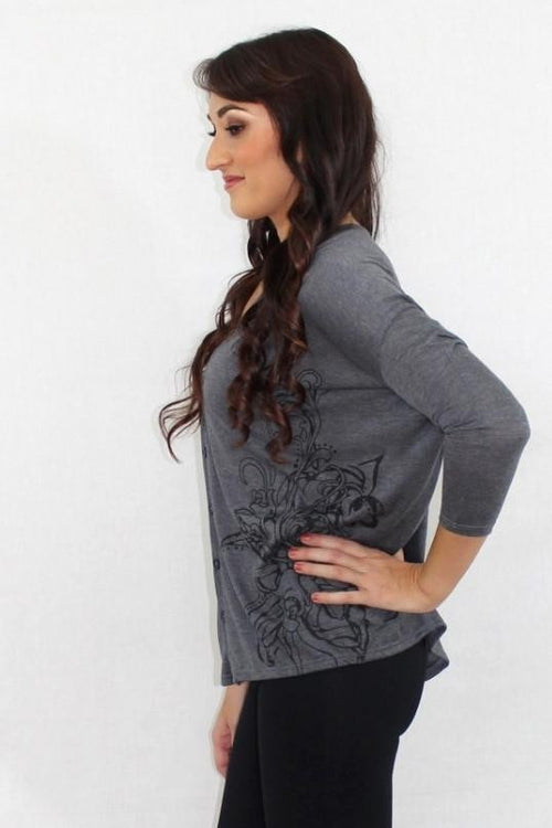 Sky's The Limit Gray Rhinestone Cardigan - The Laguna Room