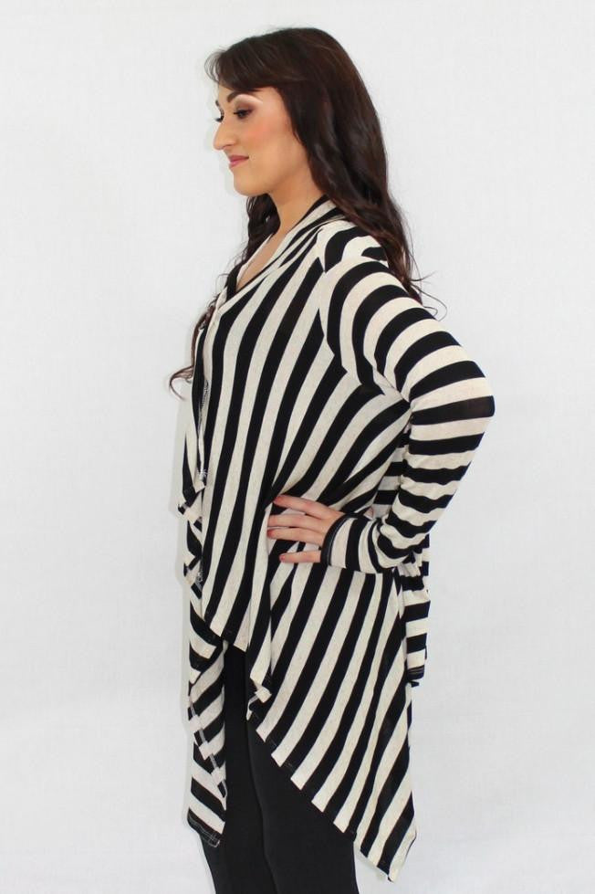 The Bottom Line Asymmetrical Striped Cardigan - The Laguna Room