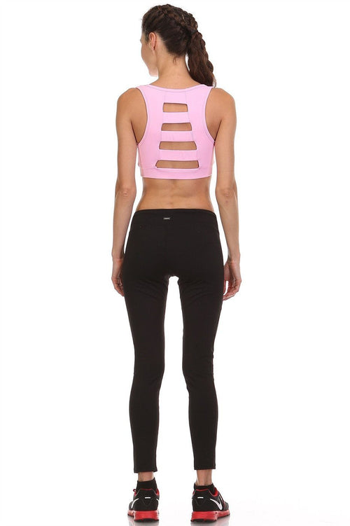 Can't Put It Down Cutout Pink Sports Bra - The Laguna Room