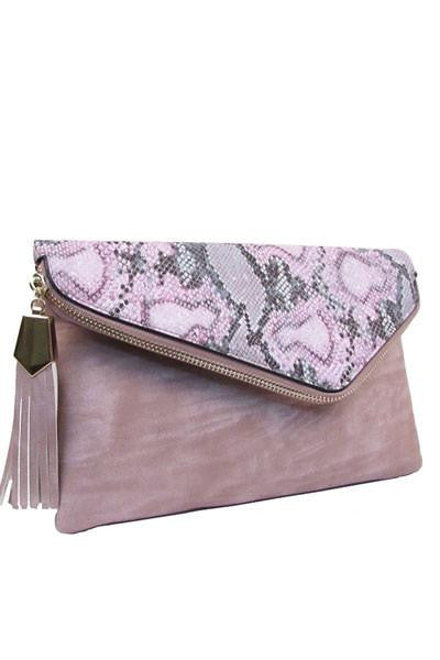 Sweet As Candy Pink Python Clutch - The Laguna Room