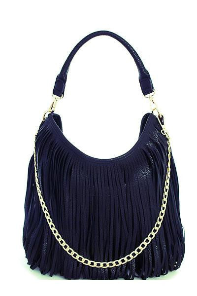 Wrap It Up Navy Fringe Purse - The Laguna Room