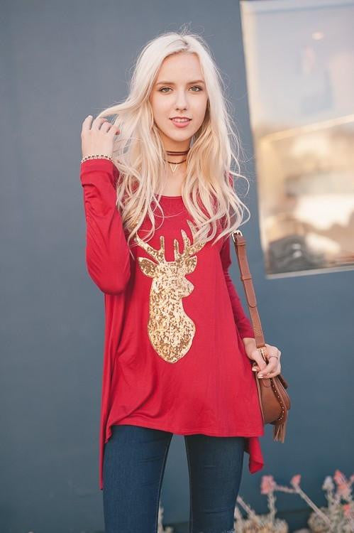 Ring the Bell Sequin Reindeer Tunic - The Laguna Room