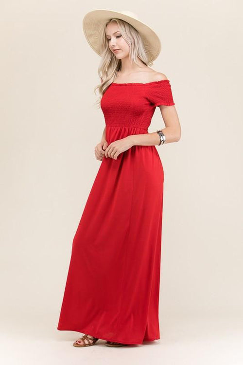 Keep It Together Off The Shoulder Maxi Dress - The Laguna Room