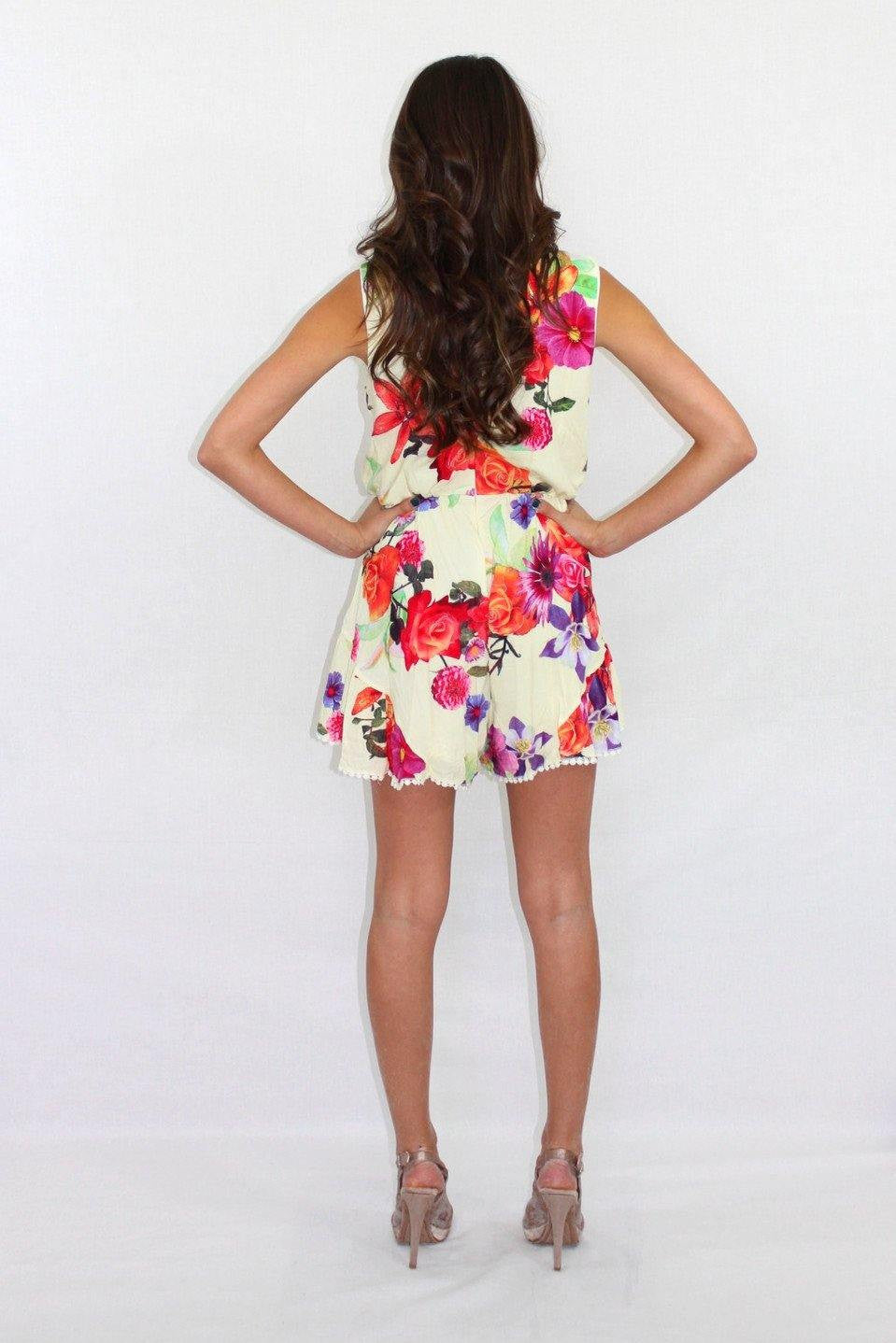 Sweet Nothing Sleeveless Floral Romper - The Laguna Room