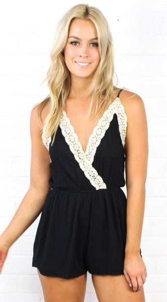 The Takedown Solid Black Romper - The Laguna Room