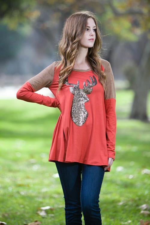 Big Shot Rust Sequin Reindeer Top - The Laguna Room