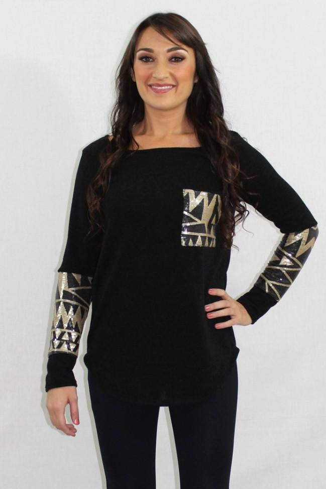 Black Magic Sequin Tunic Sweater - The Laguna Room