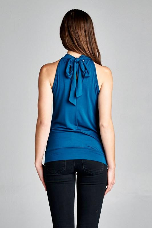 Casablanca Teal Halter Neck Top - The Laguna Room