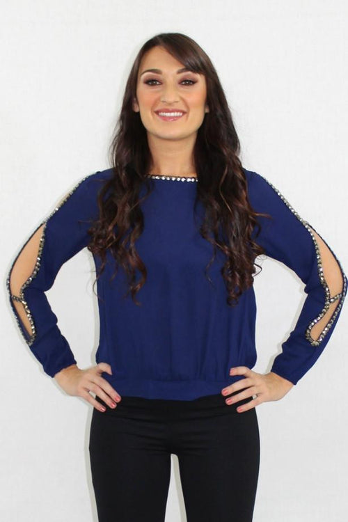 Cold Shoulder Blue Jeweled Top - The Laguna Room