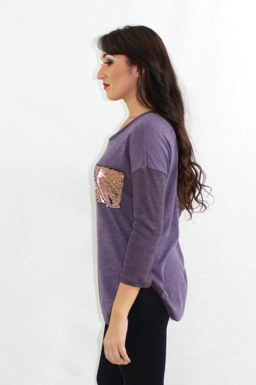 Cookie Jar Purple Sequin Tunic Top - The Laguna Room