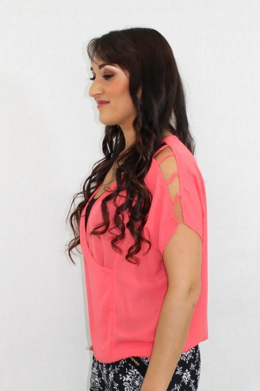 The Chill Cut Out Sheer Coral Top - The Laguna Room