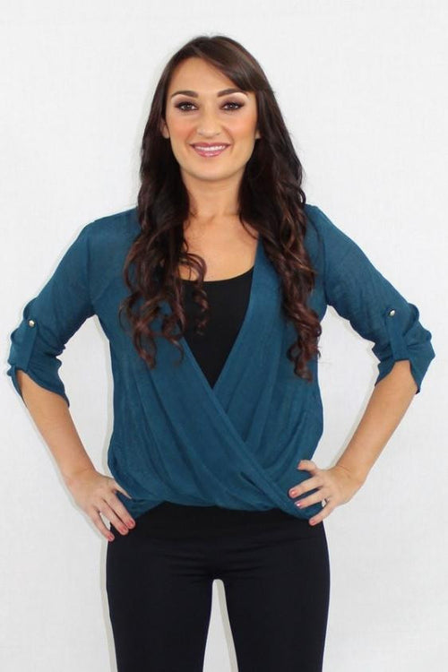 The Real Deal Faux Wrap Teal Top - The Laguna Room