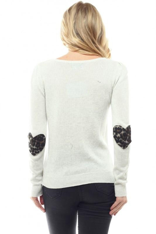 Watch Me Heart Elbow Patch Sweater - The Laguna Room