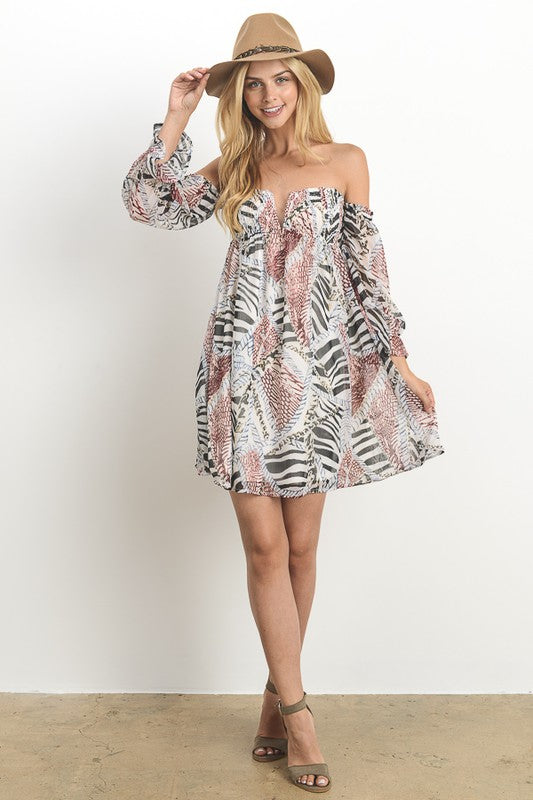 Raise Your Hands Off The Shoulder Dress - The Laguna Room