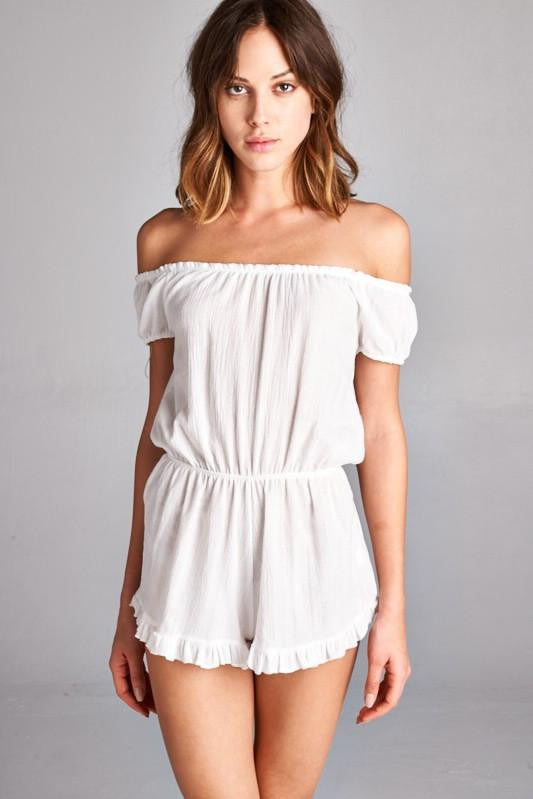 Heads Will Roll Off the Shoulder Romper - The Laguna Room