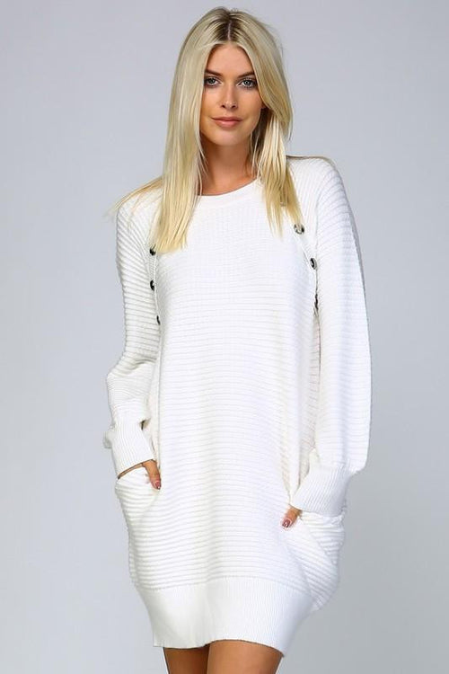 All Wrapped Up Ribbed Sweaterdress - The Laguna Room