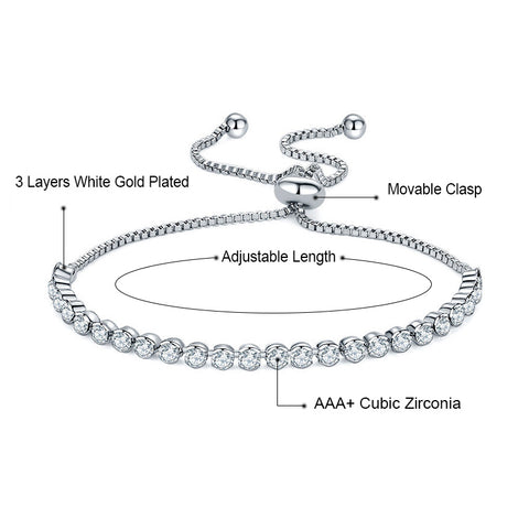 White Gold Adjustable Tennis Bracelet