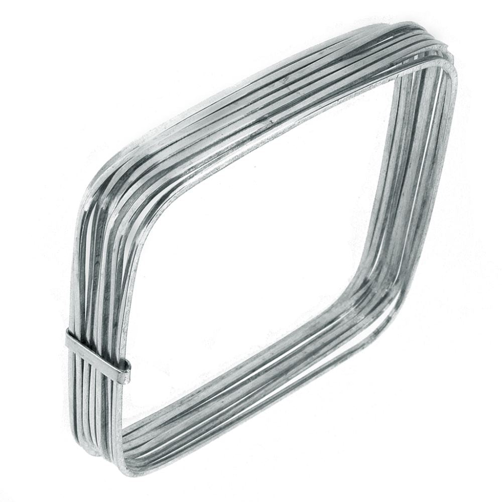 .925 Sterling Silver Bangle - 7 Squares  Clasped Plain 20mm