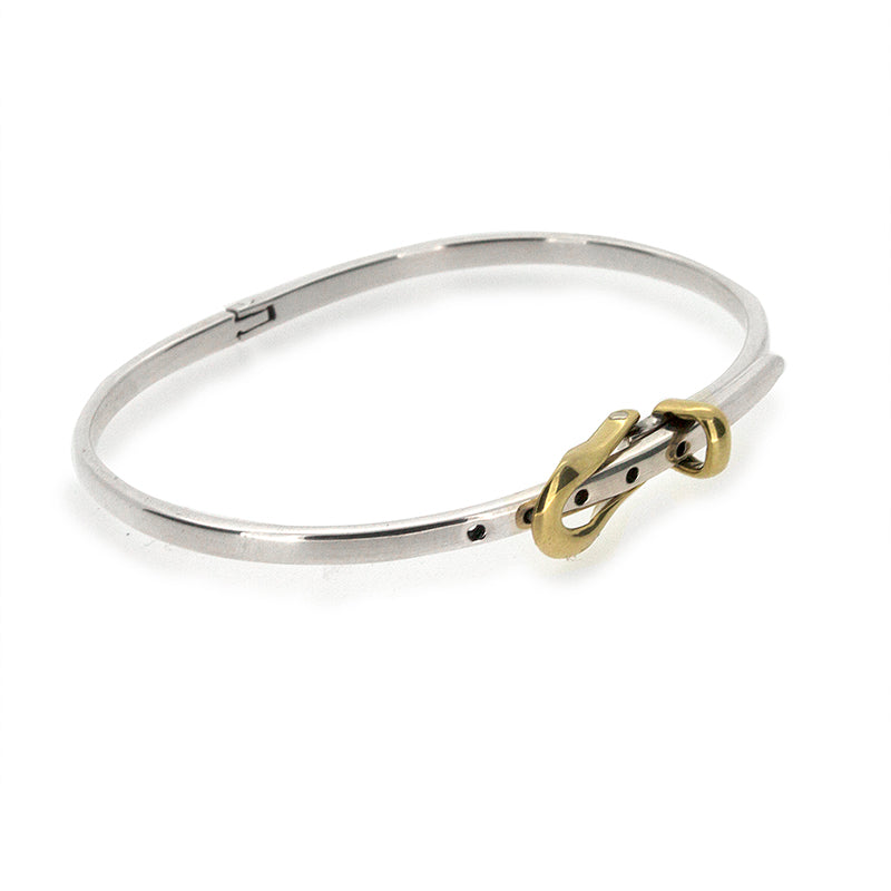 .925 Sterling Silver Bangle - Hinged Buckle Gold Catch 4mm
