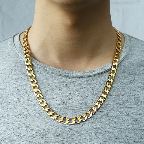 24K Gold Filled Refined Cuban Curb 9mm Chain Necklace