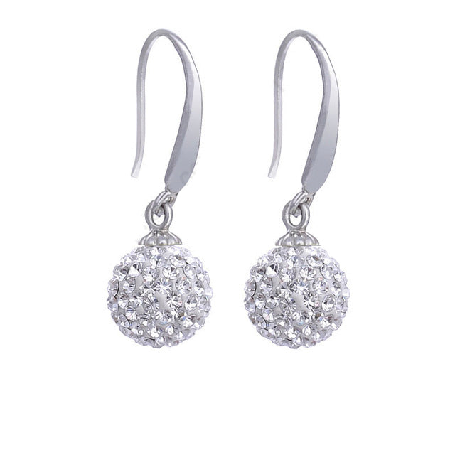 Crystal & Silver Reflective Ball Drop Earrings