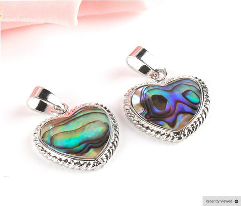 Heart Paua Pendant with silver surround