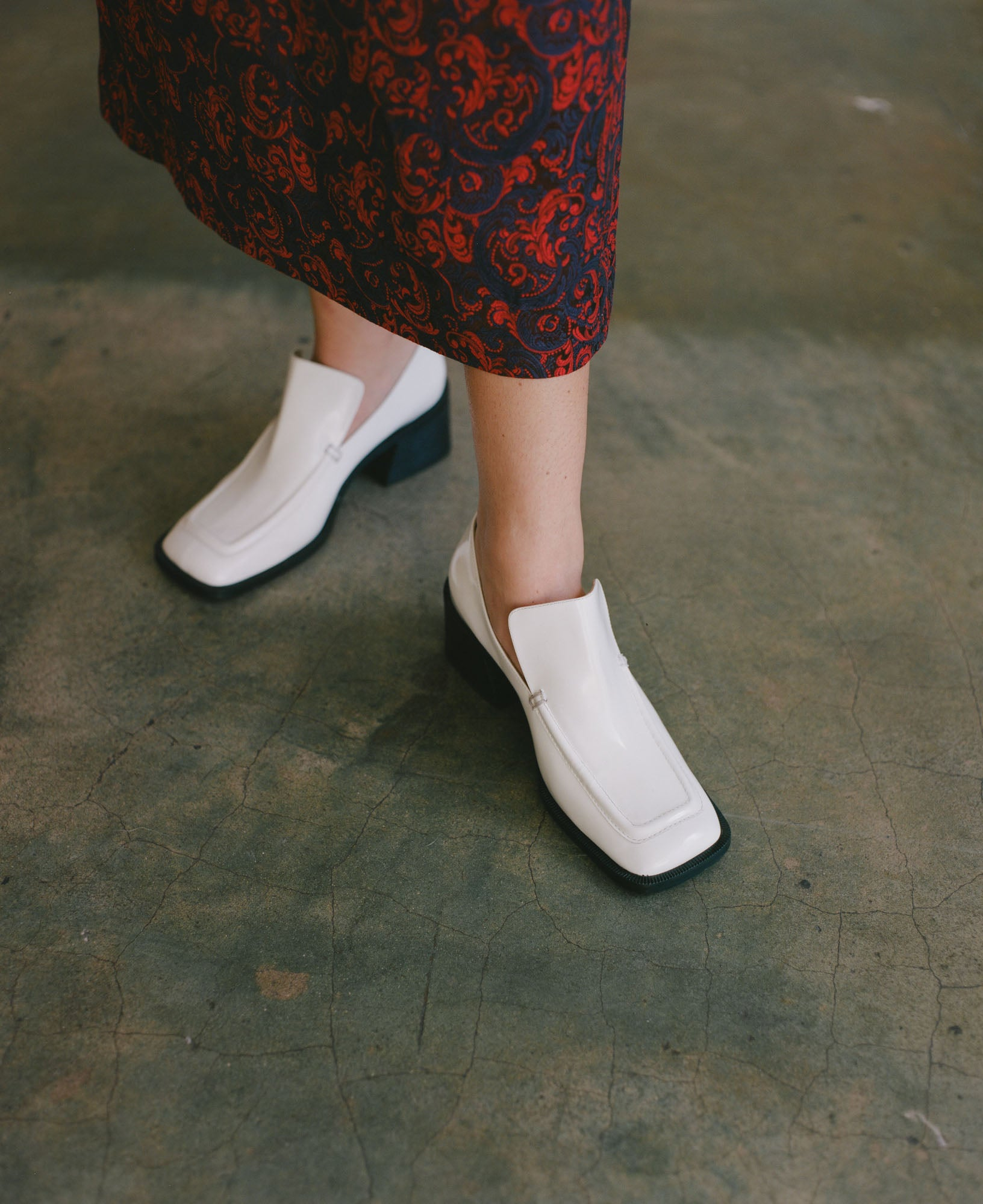 Suzanne Rae Wide Toe Loafer in White