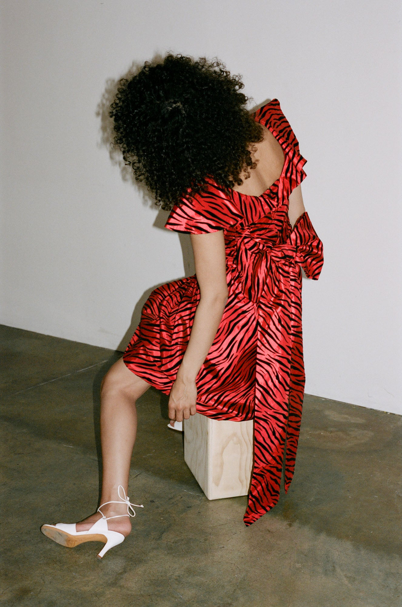 BATSHEVA Bow Dress in Red Zebra
