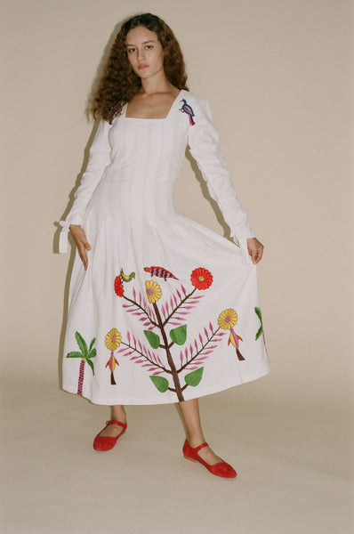 Tigra Tigra Hand-Embroidered Tropical Kantha Dress in White