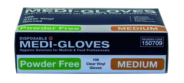 Gloves Vinyl Clear Medium Powder Free 100's Pkt  *